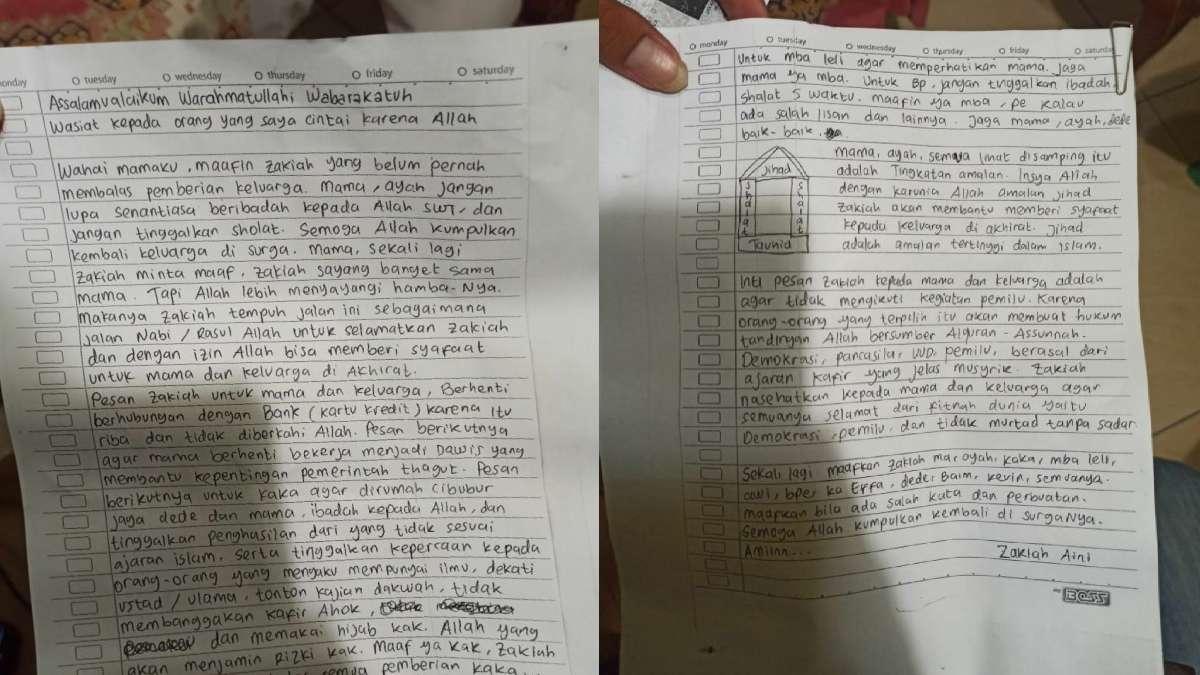 Zakiah Aini Penyerang Mabes Polri Tinggalin Surat Wasiat, Sebut Nama Ahok