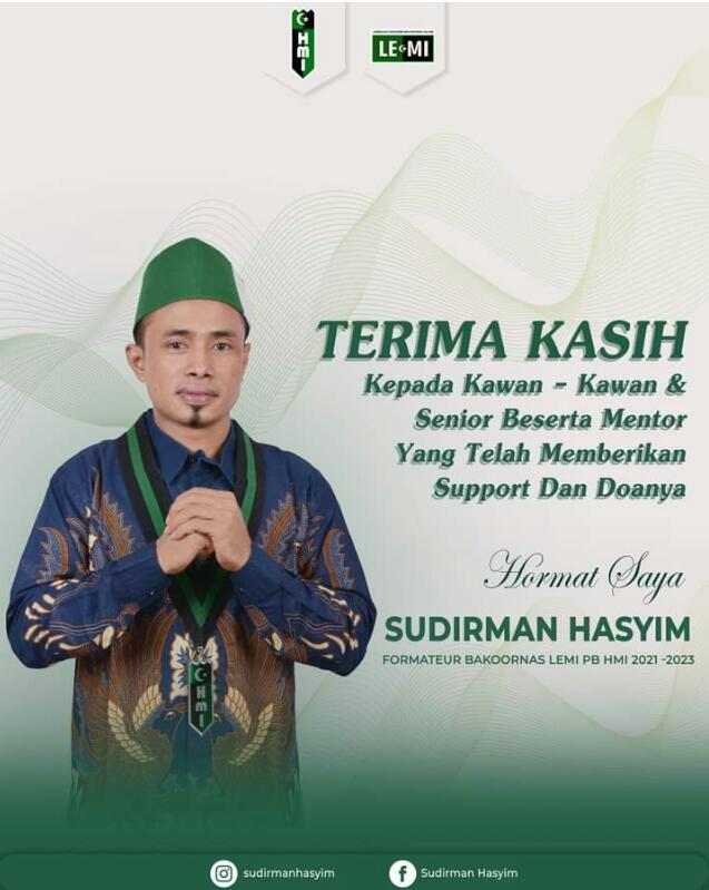 Resmi, Sudirman Hasyim Nahkodai Bakornas Lemi PB HMI